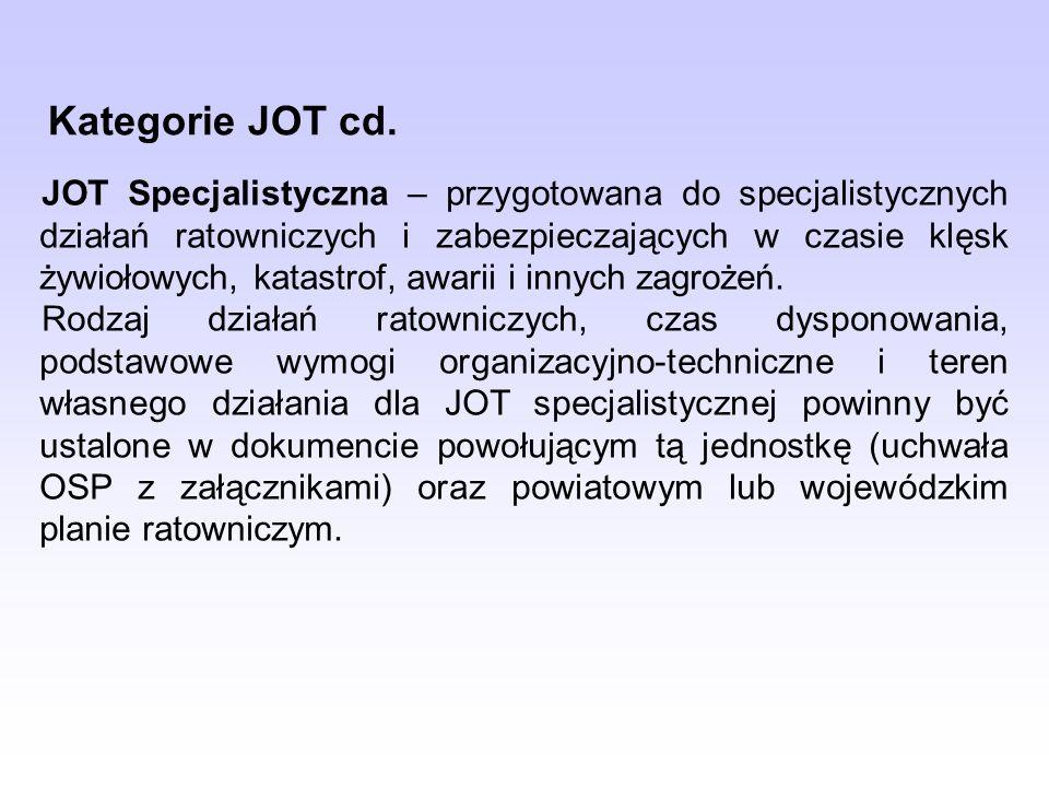 JOT Specjalistyczna – przygotowana do specjalistycznych działań ratowniczych i zabezpieczających w czasie klęsk żywiołowych, katastrof, awarii i innych zagrożeń.