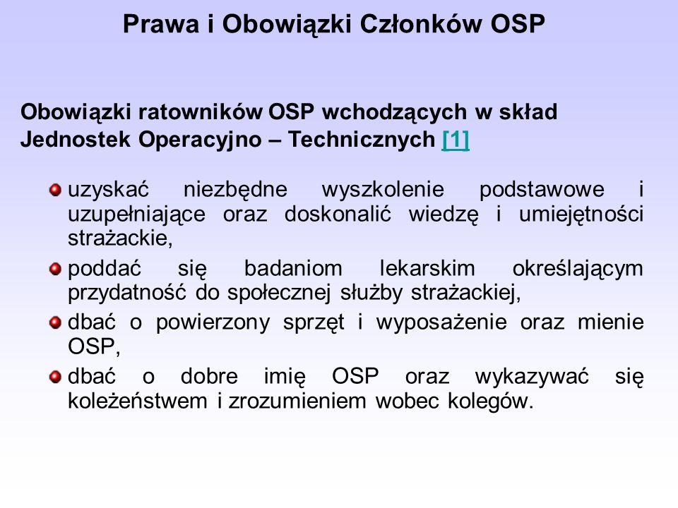uzyskać niezbędne wyszkolenie podstawowe i uzupełniające oraz doskonalić wiedzę i umiejętności strażackie, poddać się badaniom lekarskim określającym przydatność do społecznej służby strażackiej, dbać o powierzony sprzęt i wyposażenie oraz mienie OSP, dbać o dobre imię OSP oraz wykazywać się koleżeństwem i zrozumieniem wobec kolegów.