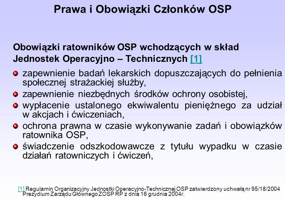 Prawa i Obowiązki Członków OSP zapewnienie badań lekarskich dopuszczających do pełnienia społecznej strażackiej służby, zapewnienie niezbędnych środków ochrony osobistej, wypłacenie ustalonego ekwiwalentu pieniężnego za udział w akcjach i ćwiczeniach, ochrona prawna w czasie wykonywanie zadań i obowiązków ratownika OSP, świadczenie odszkodowawcze z tytułu wypadku w czasie działań ratowniczych i ćwiczeń, [1] Regulamin Organizacyjny Jednostki Operacyjno-Technicznej OSP zatwierdzony uchwałą nr 95/18/2004 Prezydium Zarządu Głównego ZOSP RP z dnia 16 grudnia 2004r.[1] Obowiązki ratowników OSP wchodzących w skład Jednostek Operacyjno – Technicznych [1][1]