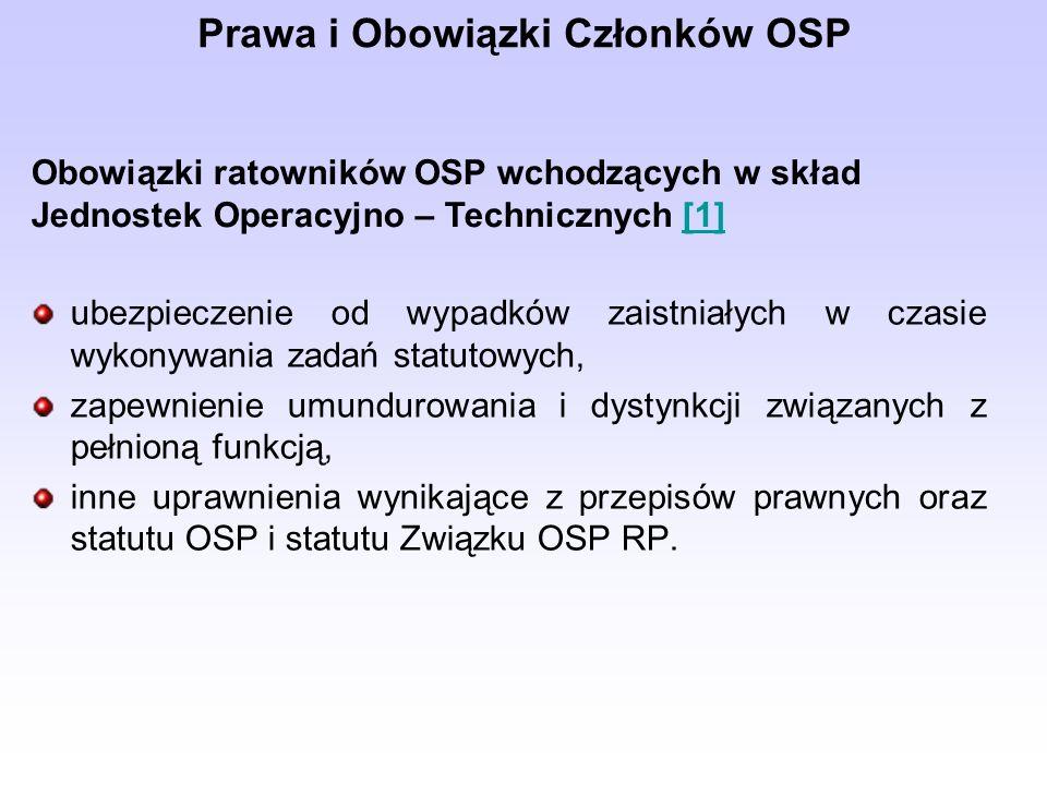 ubezpieczenie od wypadków zaistniałych w czasie wykonywania zadań statutowych, zapewnienie umundurowania i dystynkcji związanych z pełnioną funkcją, inne uprawnienia wynikające z przepisów prawnych oraz statutu OSP i statutu Związku OSP RP.