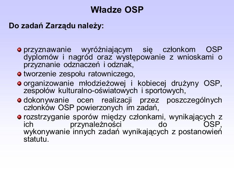 przyznawanie wyróżniającym się członkom OSP dyplomów i nagród oraz występowanie z wnioskami o przyznanie odznaczeń i odznak, tworzenie zespołu ratowniczego, organizowanie młodzieżowej i kobiecej drużyny OSP, zespołów kulturalno-oświatowych i sportowych, dokonywanie ocen realizacji przez poszczególnych członków OSP powierzonych im zadań, rozstrzyganie sporów między członkami, wynikających z ich przynależności do OSP, wykonywanie innych zadań wynikających z postanowień statutu.