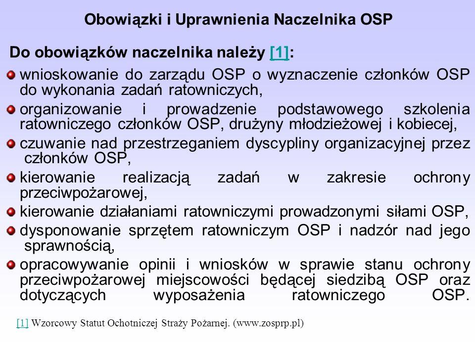 Obowiązki i Uprawnienia Naczelnika OSP wnioskowanie do zarządu OSP o wyznaczenie członków OSP do wykonania zadań ratowniczych, organizowanie i prowadzenie podstawowego szkolenia ratowniczego członków OSP, drużyny młodzieżowej i kobiecej, czuwanie nad przestrzeganiem dyscypliny organizacyjnej przez członków OSP, kierowanie realizacją zadań w zakresie ochrony przeciwpożarowej, kierowanie działaniami ratowniczymi prowadzonymi siłami OSP, dysponowanie sprzętem ratowniczym OSP i nadzór nad jego sprawnością, opracowywanie opinii i wniosków w sprawie stanu ochrony przeciwpożarowej miejscowości będącej siedzibą OSP oraz dotyczących wyposażenia ratowniczego OSP.