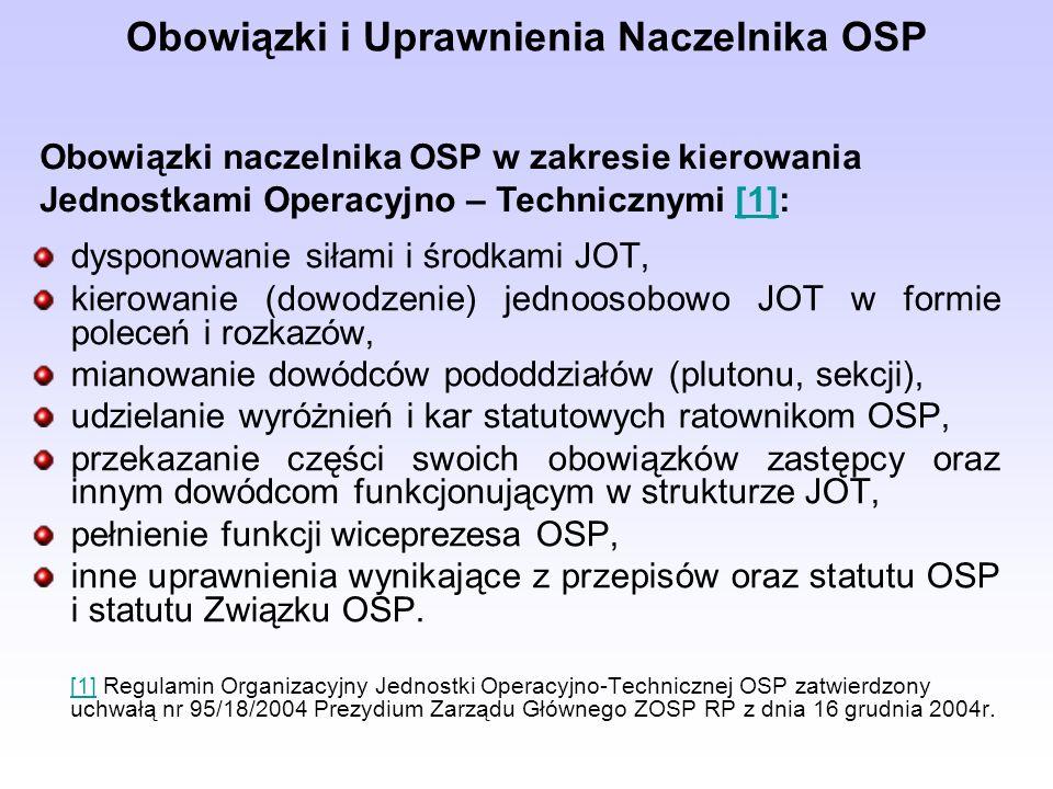 Obowiązki i Uprawnienia Naczelnika OSP dysponowanie siłami i środkami JOT, kierowanie (dowodzenie) jednoosobowo JOT w formie poleceń i rozkazów, mianowanie dowódców pododdziałów (plutonu, sekcji), udzielanie wyróżnień i kar statutowych ratownikom OSP, przekazanie części swoich obowiązków zastępcy oraz innym dowódcom funkcjonującym w strukturze JOT, pełnienie funkcji wiceprezesa OSP, inne uprawnienia wynikające z przepisów oraz statutu OSP i statutu Związku OSP.