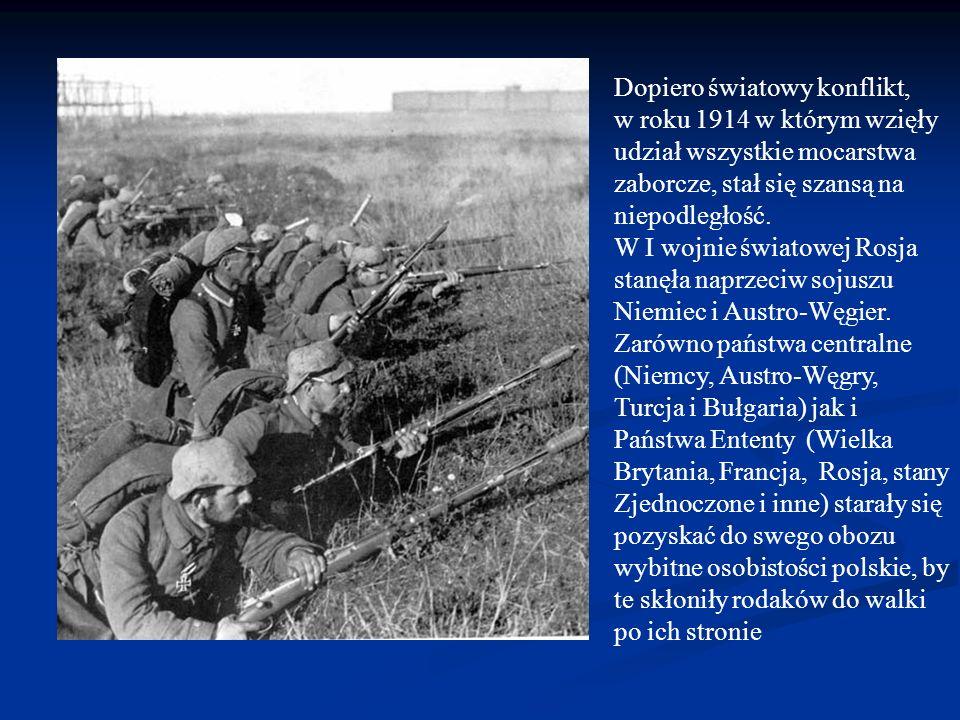 Dopiero światowy konflikt, w roku 1914 w którym wzięły udział wszystkie mocarstwa zaborcze, stał się szansą na niepodległość.