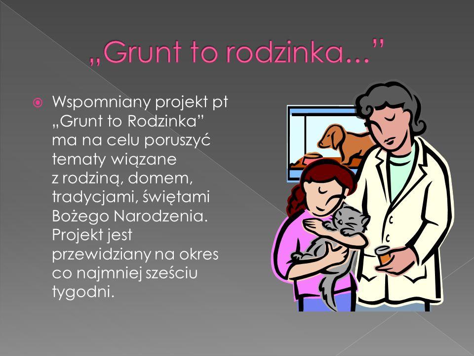 Wspomniany projekt pt Grunt to Rodzinka ma na celu poruszyć tematy wiązane z rodziną, domem, tradycjami, świętami Bożego Narodzenia. Projekt jest prze