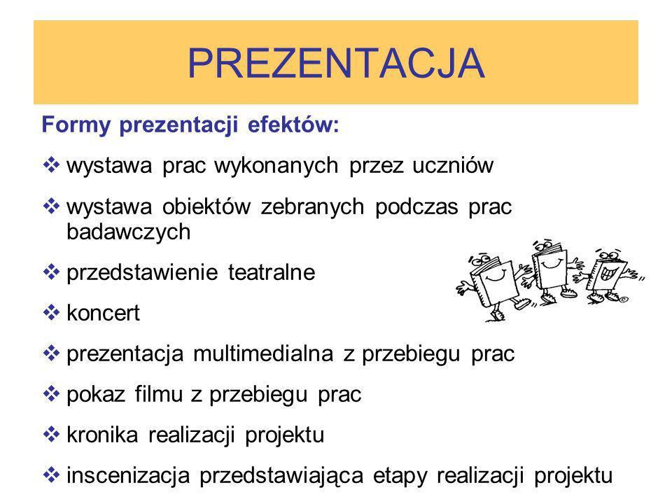 Formy prezentacji efektów: wystawa prac wykonanych przez uczniów wystawa obiektów zebranych podczas prac badawczych przedstawienie teatralne koncert p