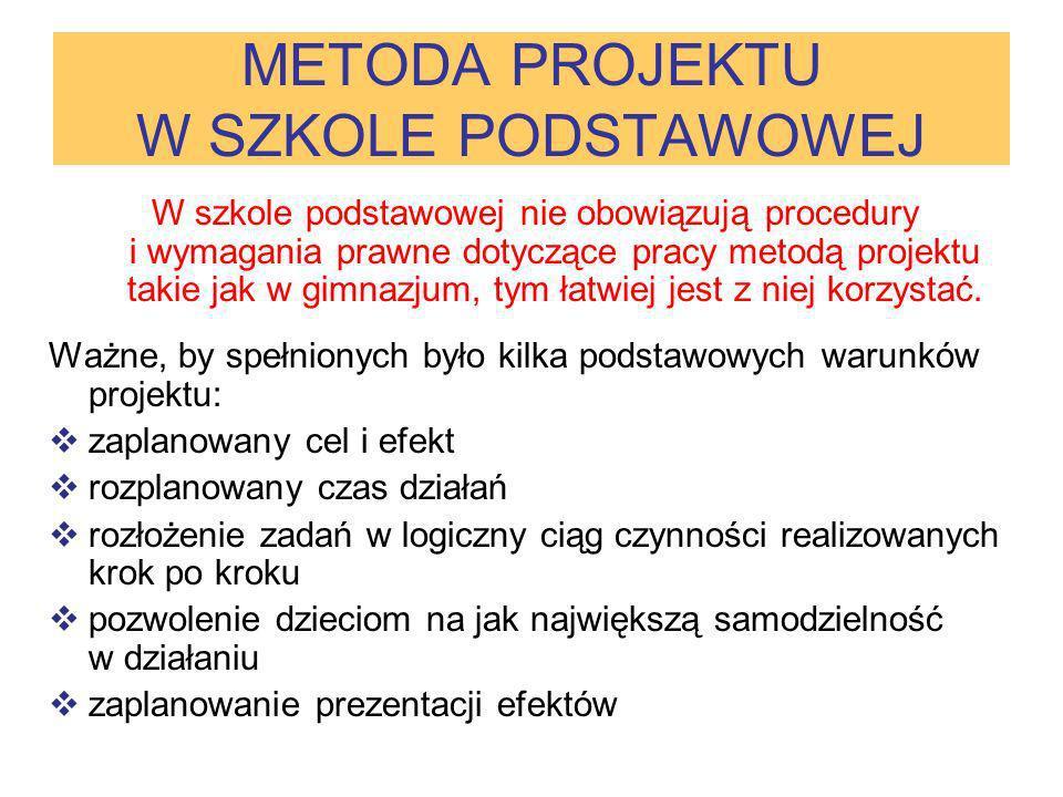 METODA PROJEKTU W SZKOLE PODSTAWOWEJ W szkole podstawowej nie obowiązują procedury i wymagania prawne dotyczące pracy metodą projektu takie jak w gimn