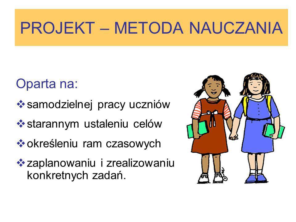 PROJEKT – METODA NAUCZANIA Oparta na: samodzielnej pracy uczniów starannym ustaleniu celów określeniu ram czasowych zaplanowaniu i zrealizowaniu konkr