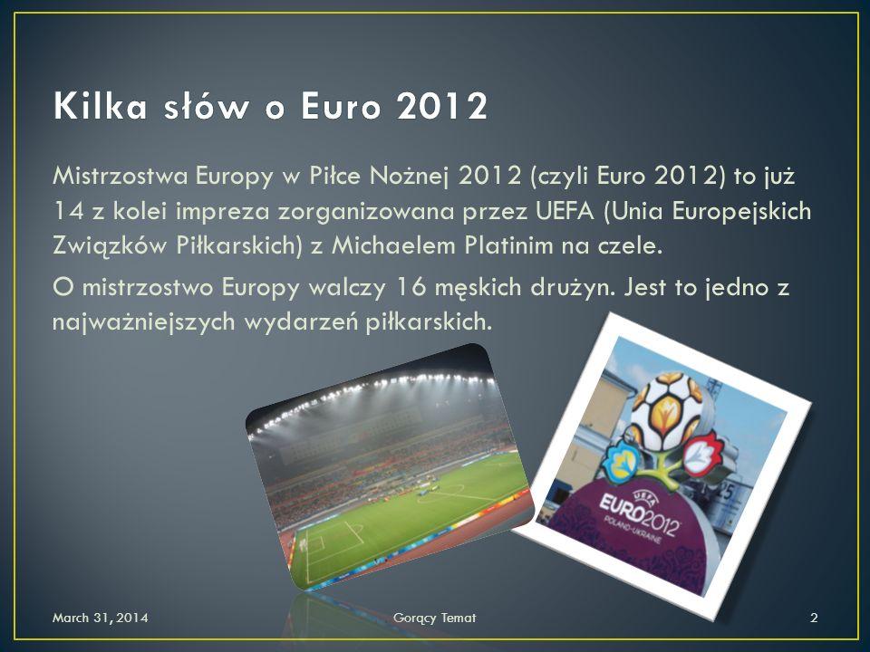Mistrzostwa Europy w Piłce Nożnej 2012 (czyli Euro 2012) to już 14 z kolei impreza zorganizowana przez UEFA (Unia Europejskich Związków Piłkarskich) z Michaelem Platinim na czele.