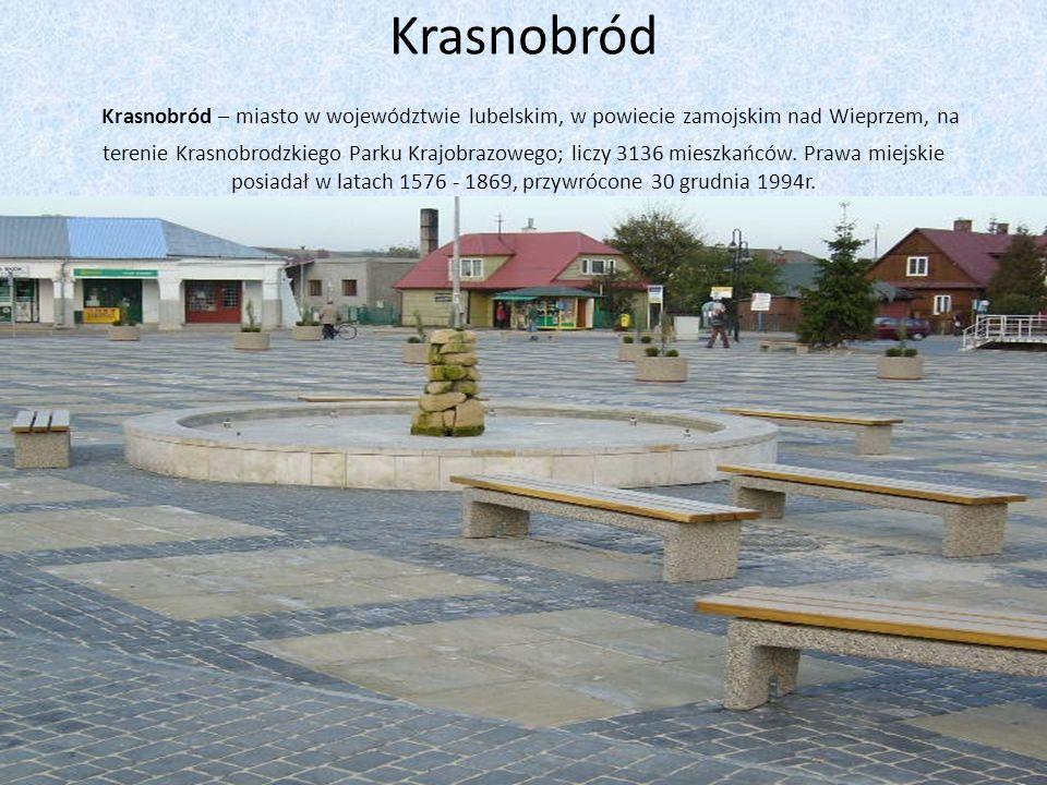 Krasnobród Krasnobród – miasto w województwie lubelskim, w powiecie zamojskim nad Wieprzem, na terenie Krasnobrodzkiego Parku Krajobrazowego; liczy 31