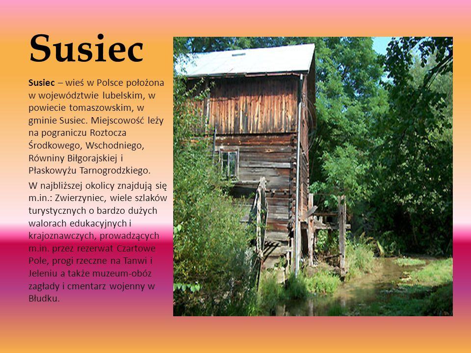 Susiec Susiec – wieś w Polsce położona w województwie lubelskim, w powiecie tomaszowskim, w gminie Susiec. Miejscowość leży na pograniczu Roztocza Śro