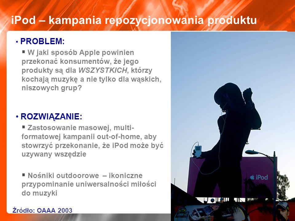 iPod – kampania repozycjonowania produktu PROBLEM: W jaki sposób Apple powinien przekonać konsumentów, że jego produkty są dla WSZYSTKICH, którzy koch
