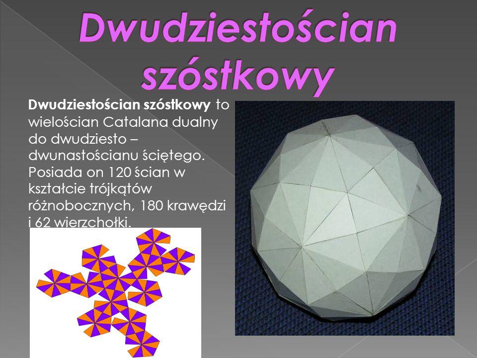 Dwudziestościan szóstkowy to wielościan Catalana dualny do dwudziesto – dwunastościanu ściętego. Posiada on 120 ścian w kształcie trójkątów różnoboczn