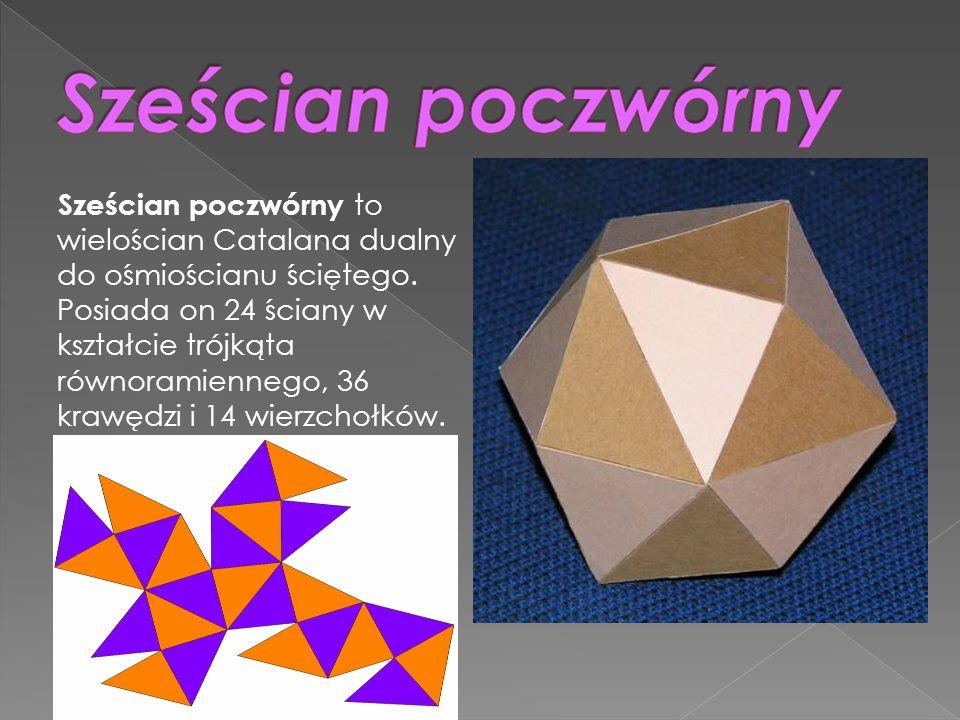 Sześcian poczwórny to wielościan Catalana dualny do ośmiościanu ściętego. Posiada on 24 ściany w kształcie trójkąta równoramiennego, 36 krawędzi i 14