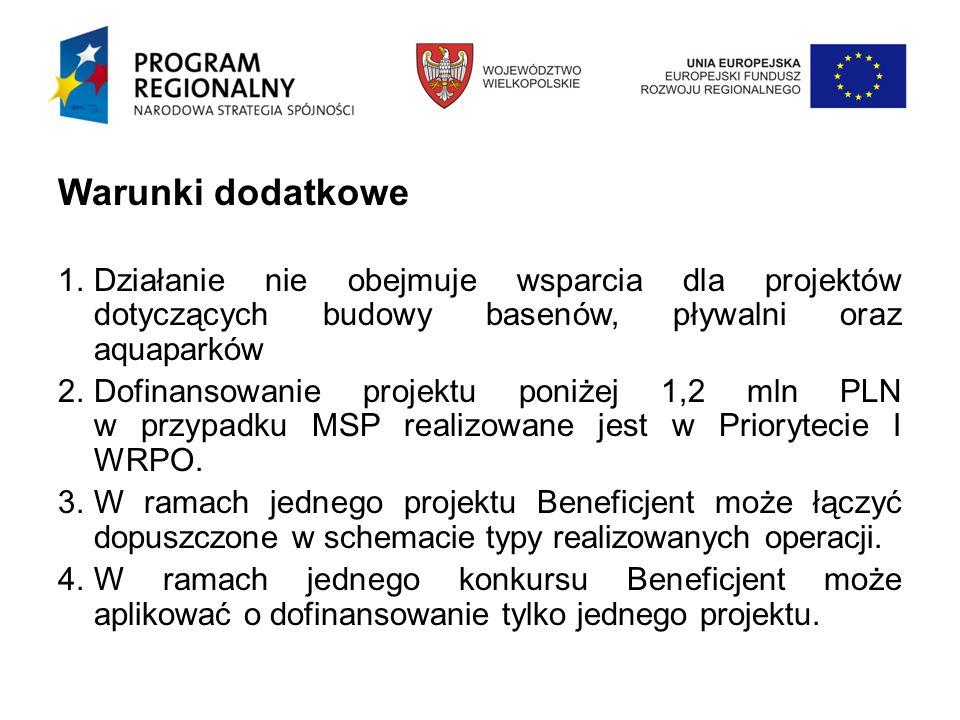 Warunki dodatkowe 1.Działanie nie obejmuje wsparcia dla projektów dotyczących budowy basenów, pływalni oraz aquaparków 2.Dofinansowanie projektu poniżej 1,2 mln PLN w przypadku MSP realizowane jest w Priorytecie I WRPO.