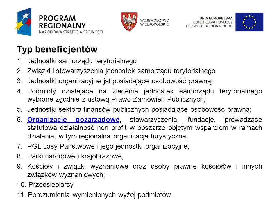 Typ beneficjentów 1.Jednostki samorządu terytorialnego 2.