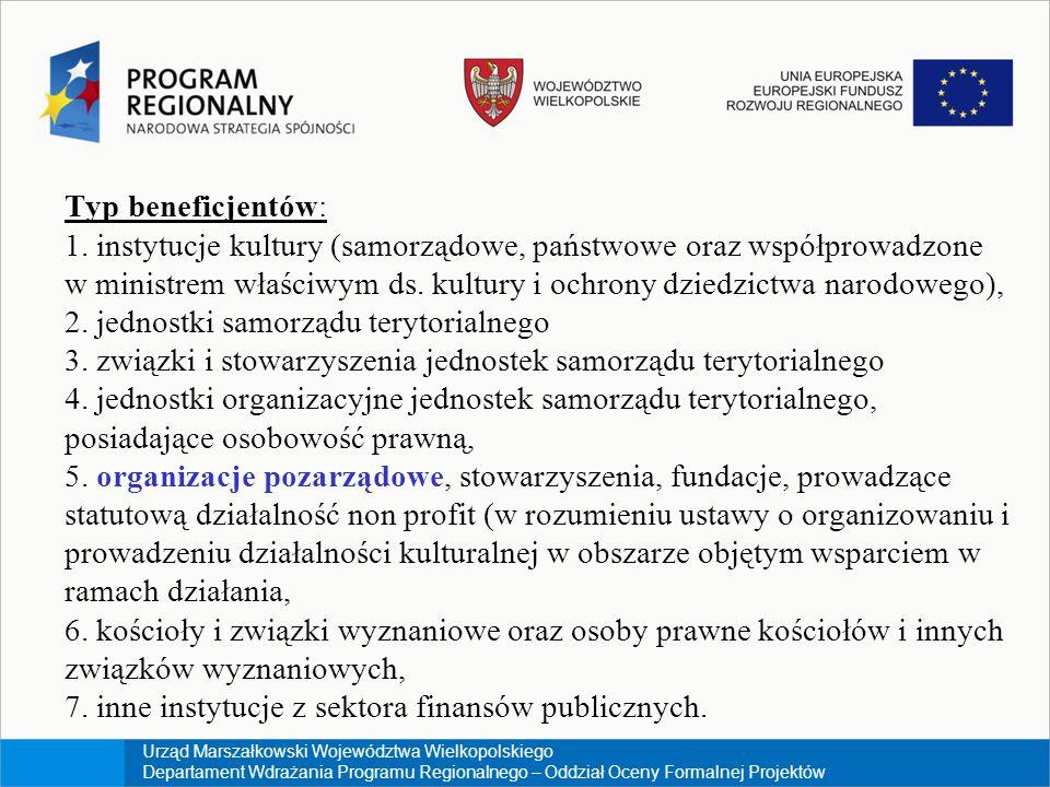 Urząd Marszałkowski Województwa Wielkopolskiego Departament Wdrażania Programu Regionalnego – Oddział Oceny Formalnej Projektów Typ beneficjentów: 1.