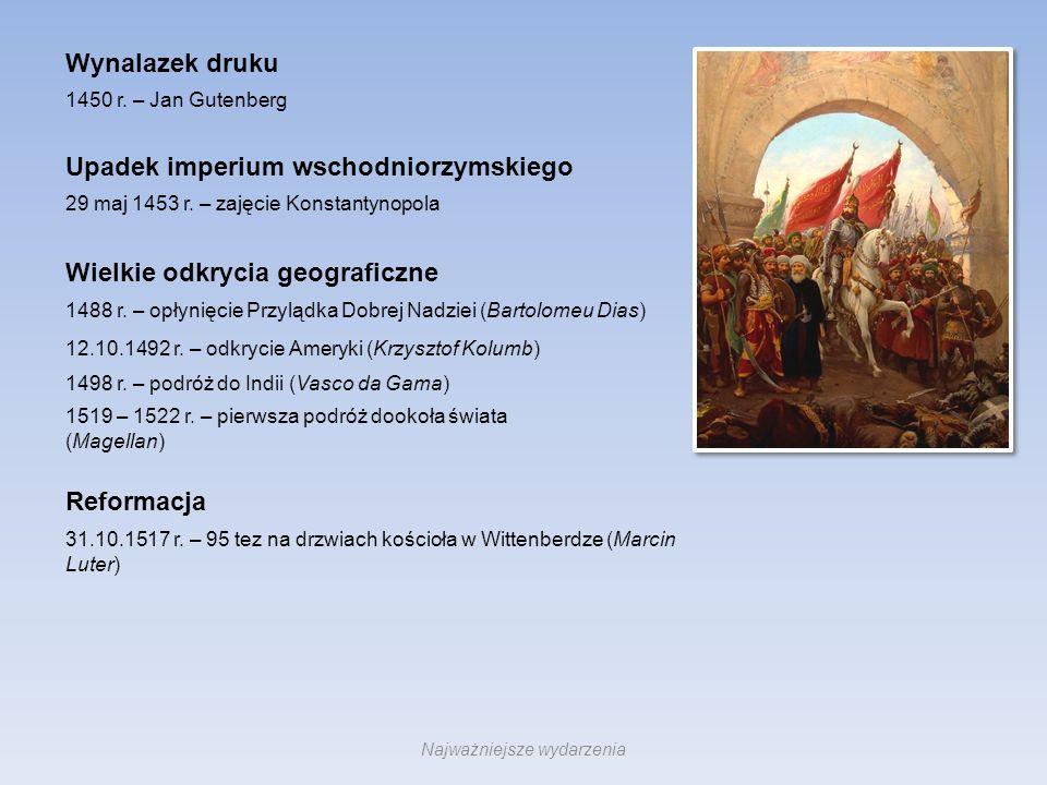 Upadek imperium wschodniorzymskiego Wielkie odkrycia geograficzne Wynalazek druku Reformacja 29 maj 1453 r. – zajęcie Konstantynopola 1450 r. – Jan Gu