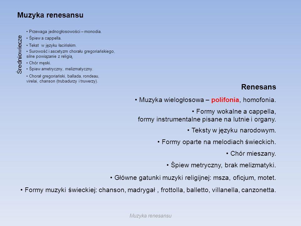 Przewaga jednogłosowości – monodia. Śpiew a cappella. Tekst w języku łacińskim. Surowość i ascetyzm chorału gregoriańskiego, silne powiązanie z religi