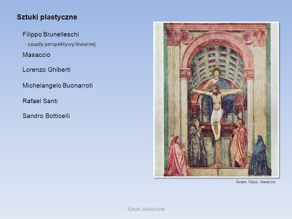 Sztuki plastyczne Święta Trójca, Masaccio Filippo Brunelleschi - zasady perspektywy linearnej Masaccio Lorenzo Ghiberti Michelangelo Buonarroti Rafael