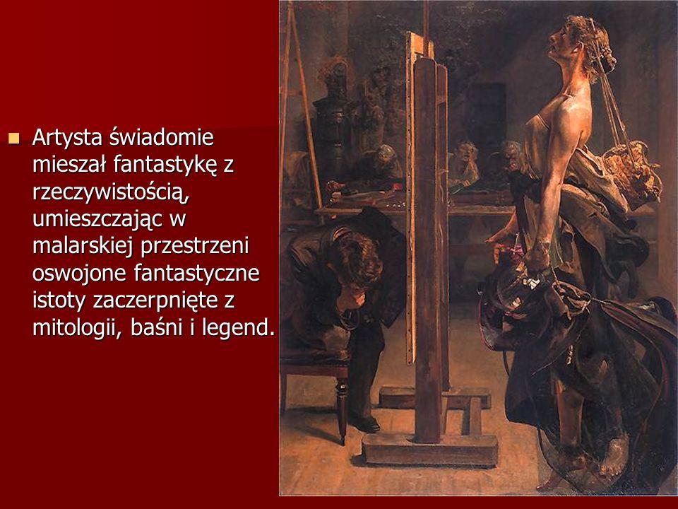 Artysta świadomie mieszał fantastykę z rzeczywistością, umieszczając w malarskiej przestrzeni oswojone fantastyczne istoty zaczerpnięte z mitologii, b