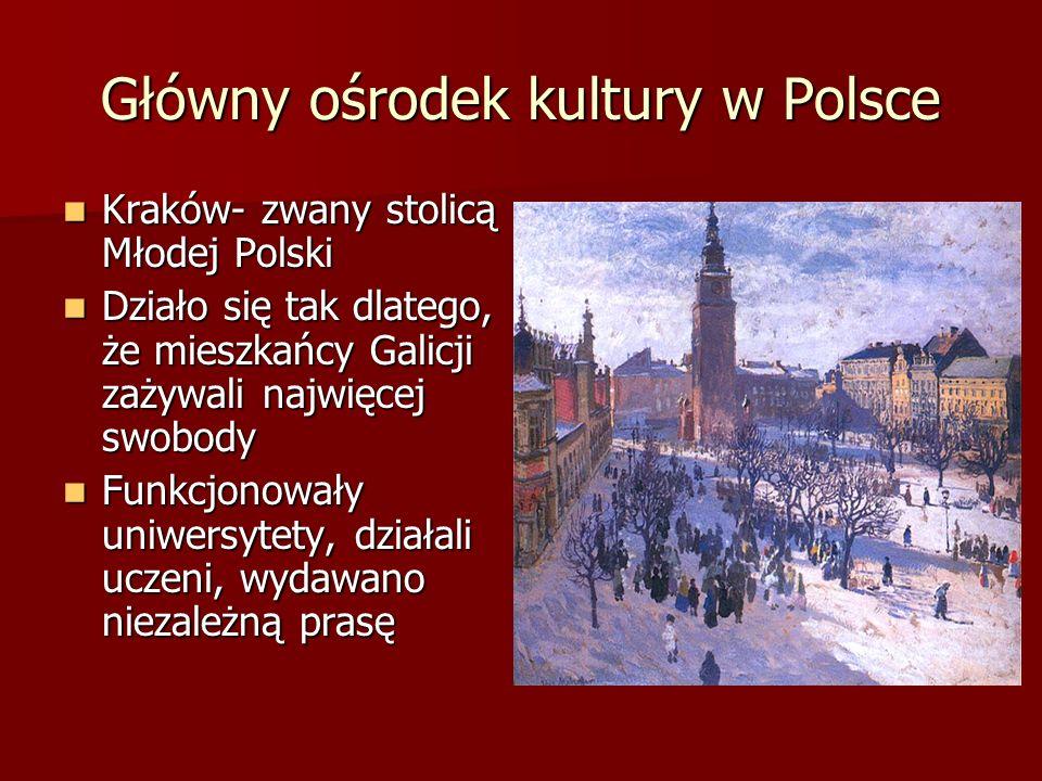 Główny ośrodek kultury w Polsce Kraków- zwany stolicą Młodej Polski Kraków- zwany stolicą Młodej Polski Działo się tak dlatego, że mieszkańcy Galicji