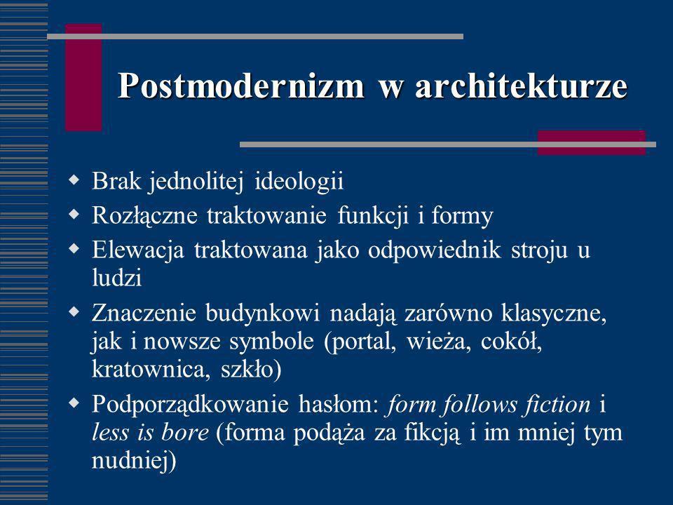 Postmodernizm w architekturze Brak jednolitej ideologii Rozłączne traktowanie funkcji i formy Elewacja traktowana jako odpowiednik stroju u ludzi Znac