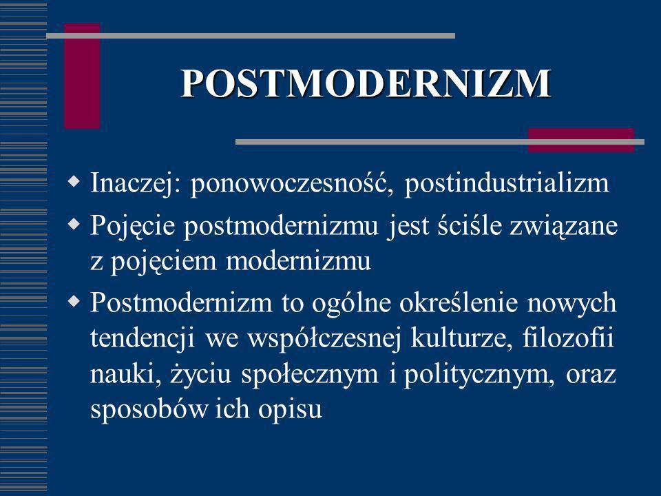 POSTMODERNIZM Inaczej: ponowoczesność, postindustrializm Pojęcie postmodernizmu jest ściśle związane z pojęciem modernizmu Postmodernizm to ogólne okr