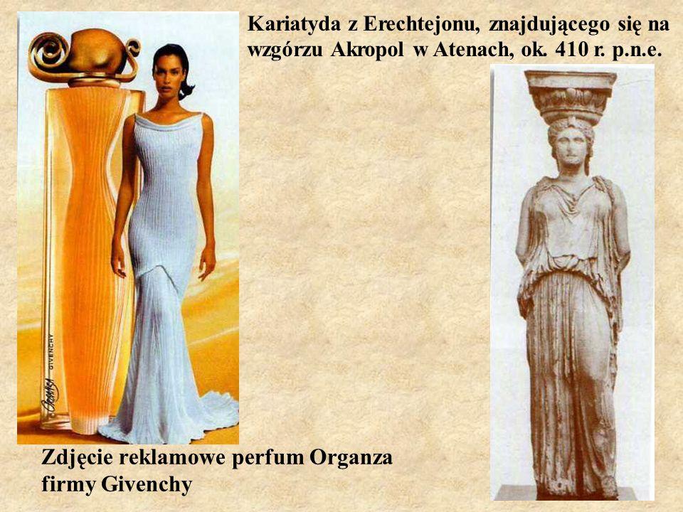 Zdjęcie reklamowe perfum Organza firmy Givenchy Kariatyda z Erechtejonu, znajdującego się na wzgórzu Akropol w Atenach, ok. 410 r. p.n.e.