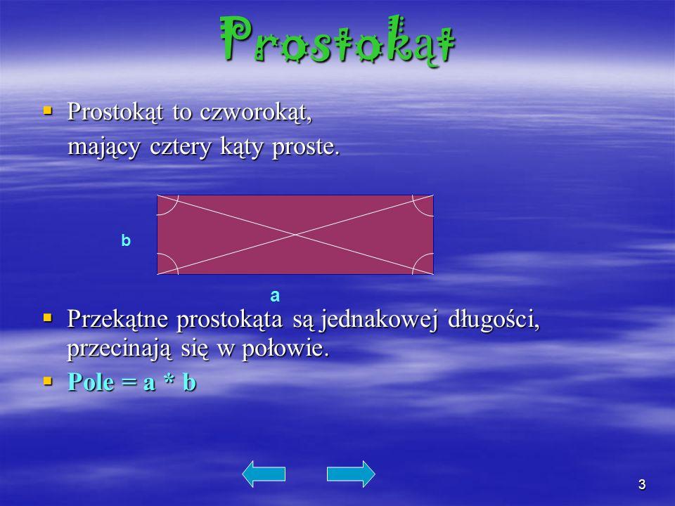 3 Prostok ą t Prostokąt to czworokąt, Prostokąt to czworokąt, mający cztery kąty proste. mający cztery kąty proste. Przekątne prostokąta są jednakowej