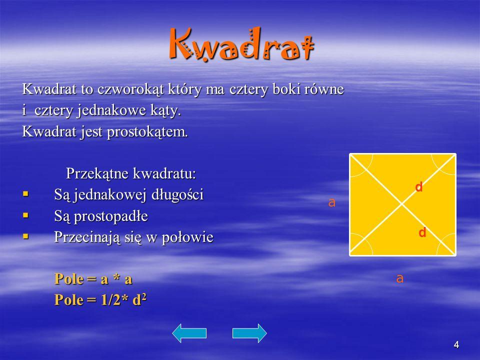 4Kwadrat Kwadrat to czworokąt który ma cztery boki równe i cztery jednakowe kąty. Kwadrat jest prostokątem. Przekątne kwadratu: Przekątne kwadratu: Są