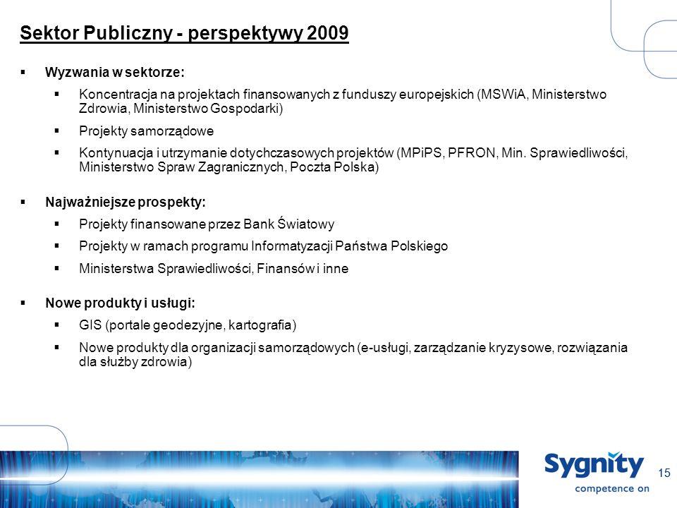 15 Sektor Publiczny - perspektywy 2009 Wyzwania w sektorze: Koncentracja na projektach finansowanych z funduszy europejskich (MSWiA, Ministerstwo Zdrowia, Ministerstwo Gospodarki) Projekty samorządowe Kontynuacja i utrzymanie dotychczasowych projektów (MPiPS, PFRON, Min.