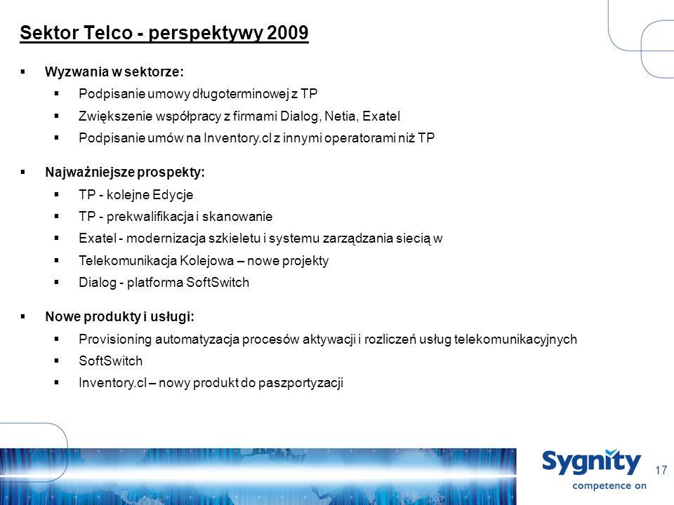 17 Sektor Telco - perspektywy 2009 Wyzwania w sektorze: Podpisanie umowy długoterminowej z TP Zwiększenie współpracy z firmami Dialog, Netia, Exatel Podpisanie umów na Inventory.cl z innymi operatorami niż TP Najważniejsze prospekty: TP - kolejne Edycje TP - prekwalifikacja i skanowanie Exatel - modernizacja szkieletu i systemu zarządzania siecią w Telekomunikacja Kolejowa – nowe projekty Dialog - platforma SoftSwitch Nowe produkty i usługi: Provisioning automatyzacja procesów aktywacji i rozliczeń usług telekomunikacyjnych SoftSwitch Inventory.cl – nowy produkt do paszportyzacji