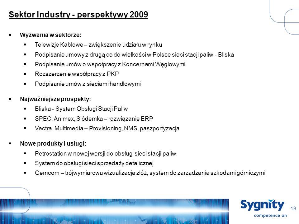 18 Sektor Industry - perspektywy 2009 Wyzwania w sektorze: Telewizje Kablowe – zwiększenie udziału w rynku Podpisanie umowy z drugą co do wielkości w Polsce sieci stacji paliw - Bliska Podpisanie umów o współpracy z Koncernami Węglowymi Rozszerzenie współpracy z PKP Podpisanie umów z sieciami handlowymi Najważniejsze prospekty: Bliska - System Obsługi Stacji Paliw SPEC, Animex, Siódemka – rozwiązanie ERP Vectra, Multimedia – Provisioning, NMS, paszportyzacja Nowe produkty i usługi: Petrostation w nowej wersji do obsługi sieci stacji paliw System do obsługi sieci sprzedaży detalicznej Gemcom – trójwymiarowa wizualizacja złóż, system do zarządzania szkodami górniczymi
