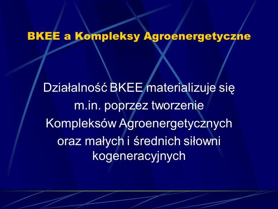 BKEE a Kompleksy Agroenergetyczne Działalność BKEE materializuje się m.in. poprzez tworzenie Kompleksów Agroenergetycznych oraz małych i średnich siło