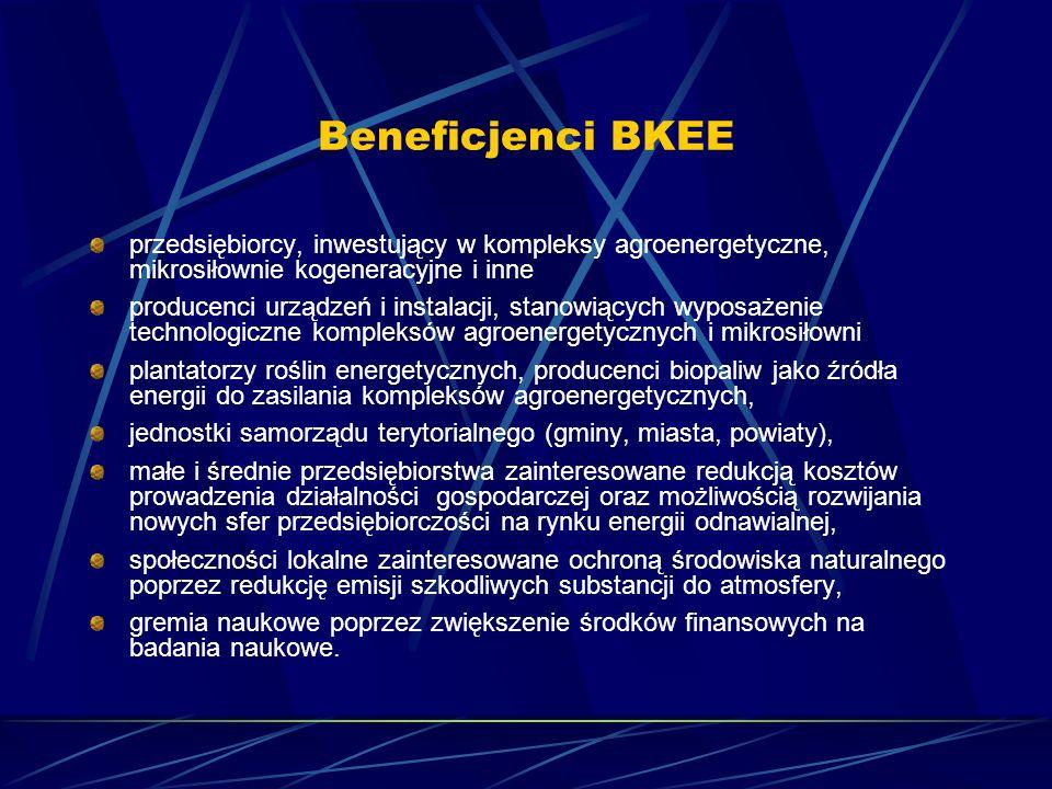 Beneficjenci BKEE przedsiębiorcy, inwestujący w kompleksy agroenergetyczne, mikrosiłownie kogeneracyjne i inne producenci urządzeń i instalacji, stano