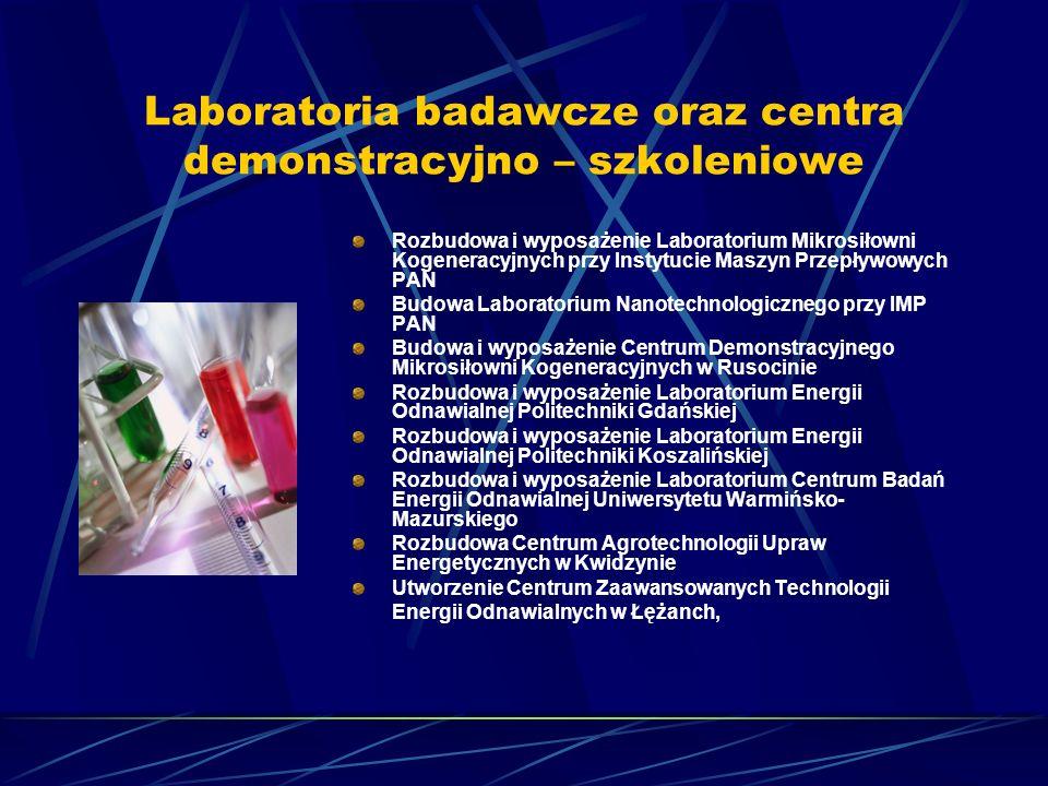 Laboratoria badawcze oraz centra demonstracyjno – szkoleniowe Rozbudowa i wyposażenie Laboratorium Mikrosiłowni Kogeneracyjnych przy Instytucie Maszyn