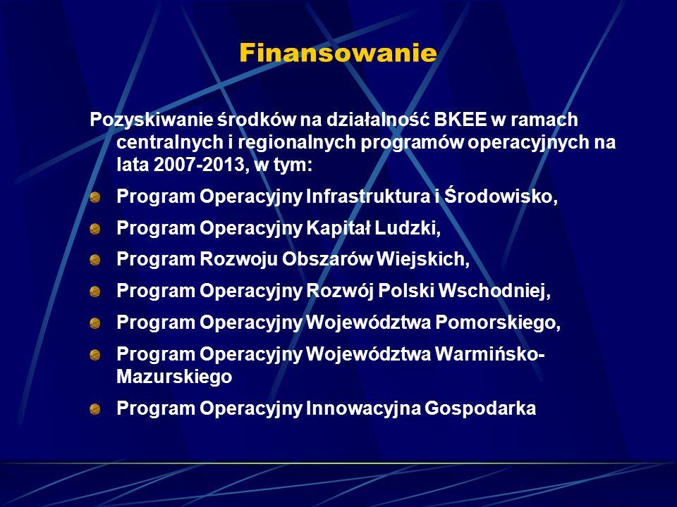 Finansowanie Pozyskiwanie środków na działalność BKEE w ramach centralnych i regionalnych programów operacyjnych na lata 2007-2013, w tym: Program Ope