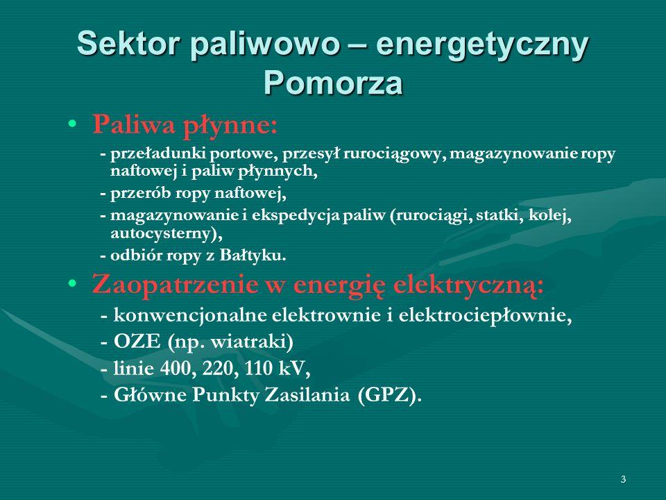 3 Sektor paliwowo – energetyczny Pomorza Paliwa płynne: - przeładunki portowe, przesył rurociągowy, magazynowanie ropy naftowej i paliw płynnych, - przerób ropy naftowej, - magazynowanie i ekspedycja paliw (rurociągi, statki, kolej, autocysterny), - odbiór ropy z Bałtyku.