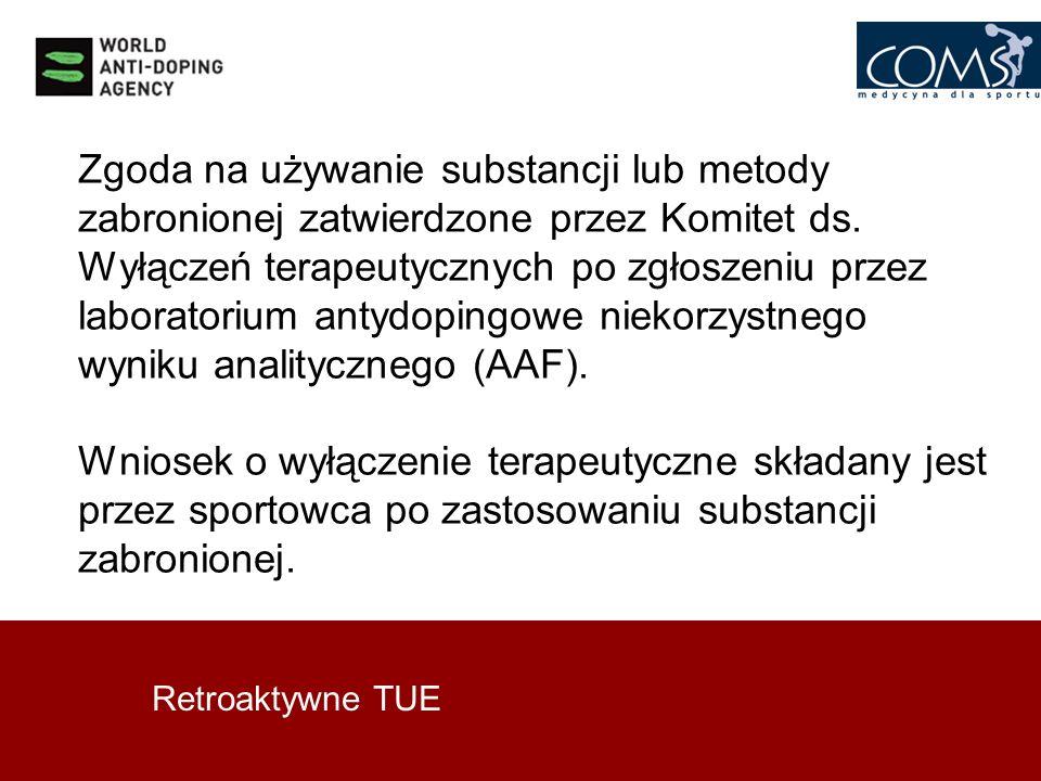 Retroaktywne TUE Zgoda na używanie substancji lub metody zabronionej zatwierdzone przez Komitet ds. Wyłączeń terapeutycznych po zgłoszeniu przez labor