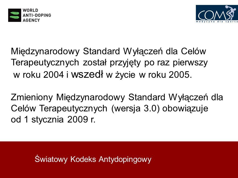 Światowy Kodeks Antydopingowy Międzynarodowy Standard Wyłączeń dla Celów Terapeutycznych został przyjęty po raz pierwszy w roku 2004 i wszedł w życie