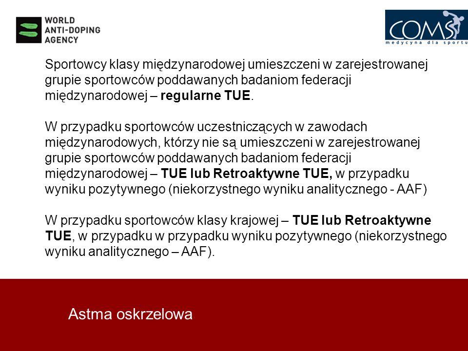 Astma oskrzelowa Sportowcy klasy międzynarodowej umieszczeni w zarejestrowanej grupie sportowców poddawanych badaniom federacji międzynarodowej – regu