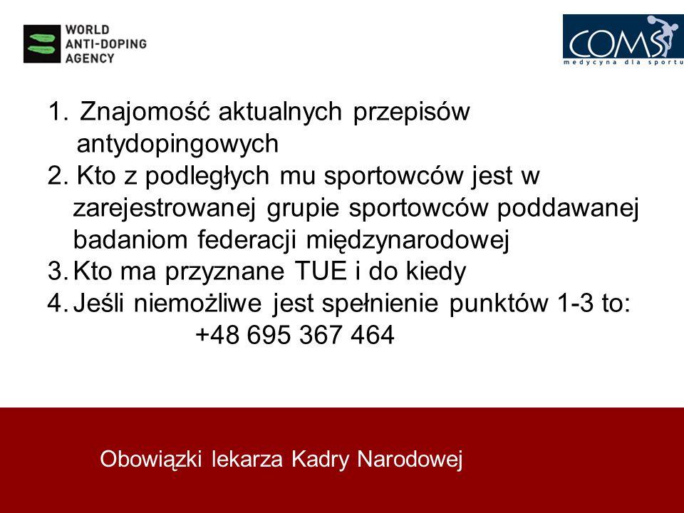 Obowiązki lekarza Kadry Narodowej 1. Znajomość aktualnych przepisów antydopingowych 2. Kto z podległych mu sportowców jest w zarejestrowanej grupie sp