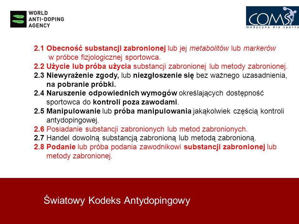 Światowy Kodeks Antydopingowy 2.1 Obecność substancji zabronionej lub jej metabolitów lub markerów w próbce fizjologicznej sportowca. 2.2 Użycie lub p