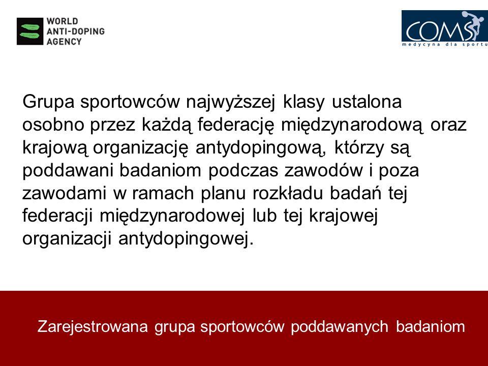 Zarejestrowana grupa sportowców poddawanych badaniom Grupa sportowców najwyższej klasy ustalona osobno przez każdą federację międzynarodową oraz krajo