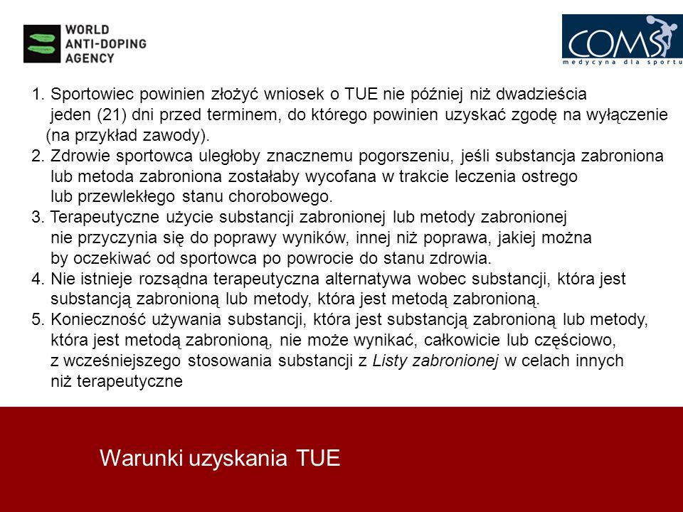 Warunki uzyskania TUE 1. Sportowiec powinien złożyć wniosek o TUE nie później niż dwadzieścia jeden (21) dni przed terminem, do którego powinien uzysk