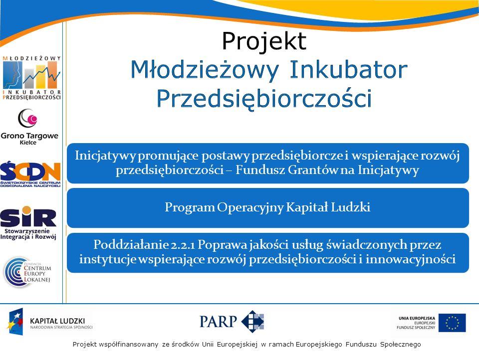 Projekt współfinansowany ze środków Unii Europejskiej w ramach Europejskiego Funduszu Społecznego Inicjatywy promujące postawy przedsiębiorcze i wspie