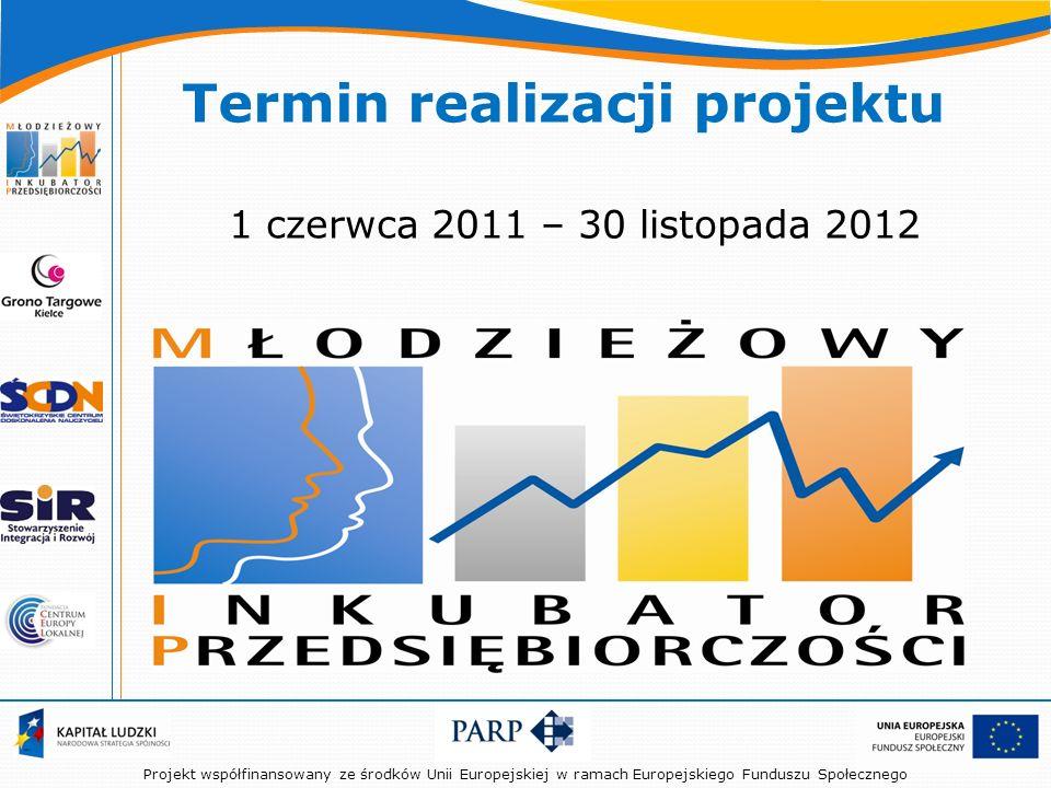 Projekt współfinansowany ze środków Unii Europejskiej w ramach Europejskiego Funduszu Społecznego Termin realizacji projektu 1 czerwca 2011 – 30 listopada 2012