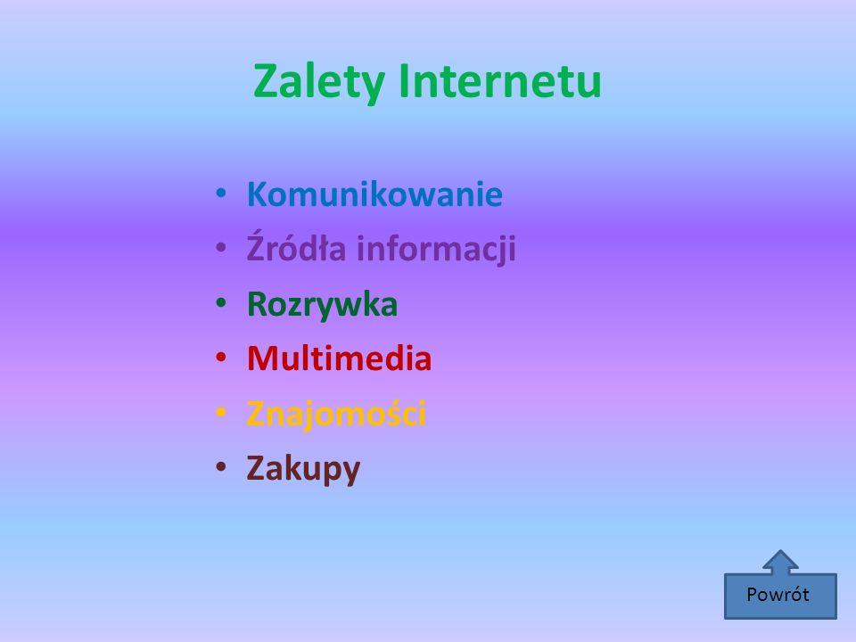 Zalety Internetu Komunikowanie Źródła informacji Rozrywka Multimedia Znajomości Zakupy Powrót