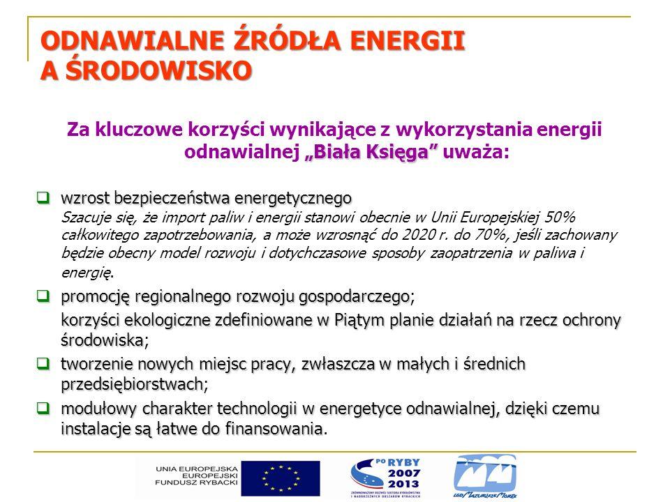 ODNAWIALNE ŹRÓDŁA ENERGII A ŚRODOWISKO Biała Księga Za kluczowe korzyści wynikające z wykorzystania energii odnawialnej Biała Księga uważa: wzrost bez